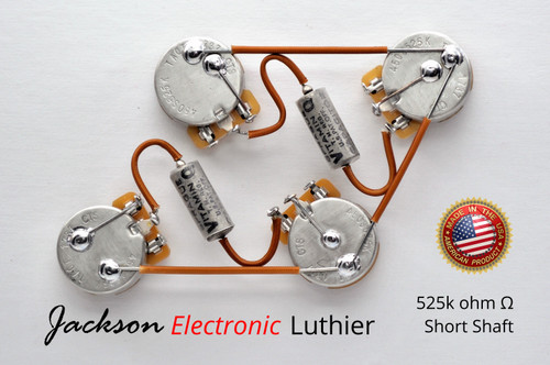 Les Paul Wiring Harness Custom by JEL - 525k CTS SHORT Shaft - PIO Vitamin Q .022 uF Caps