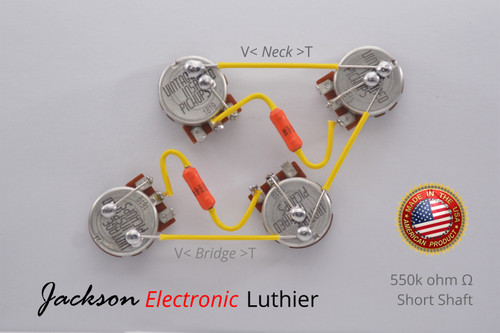 Les Paul Wiring Harness by JEL 550k VIPots Centralab Spec SHORT .022 uF Sprague 192P Capacitors