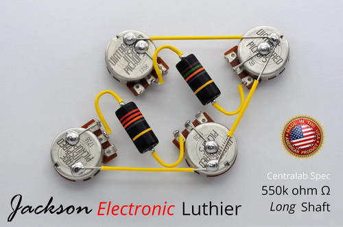 Les Paul Wiring Harness 550k VIPots Centralab Spec LONG Emerson Bumblebee Capacitors .015uF Neck .022 uF Bridge