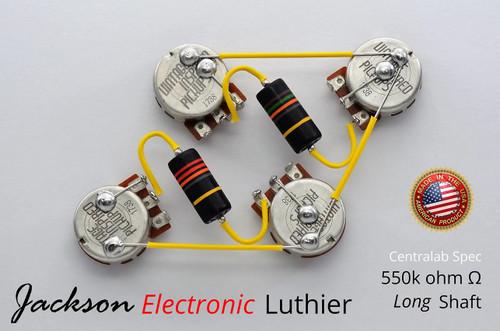 Les Paul Wiring Harness 550k VIPots Centralab Spec LONG Emerson Bumblebee Capacitors .015uF Neck .022 uF Bridge