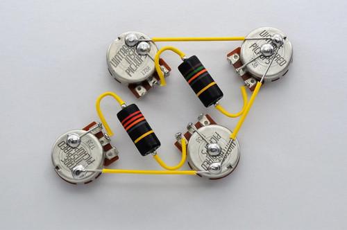 Les Paul Wiring Harness 550k VIPots Centralab Spec SHORTEmerson Bumblebee Capacitors .015uF Neck .022 uF Bridge