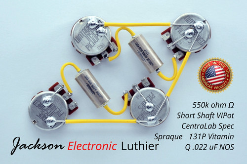 Les Paul Wiring Harness by JEL 550k VIPots Centralab Spec SHORT .022 uF Sprague 131P Vitamin Q PIO Capacitors