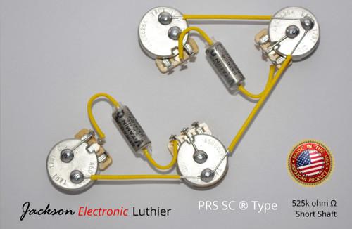 PRS SC ® Type Wiring Harness Kit CTS 525k Short Shaft Potentiometers .022 Vitamin Q Capacitors NOS