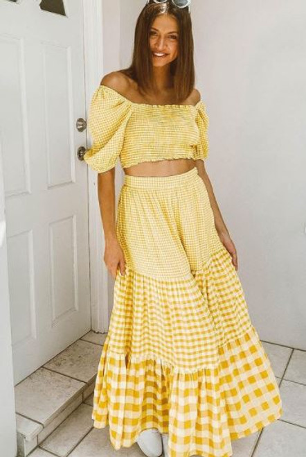 Lemon Gingham Skirt