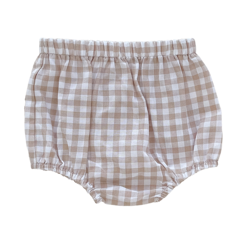 Sand Gingham Nappy Cover