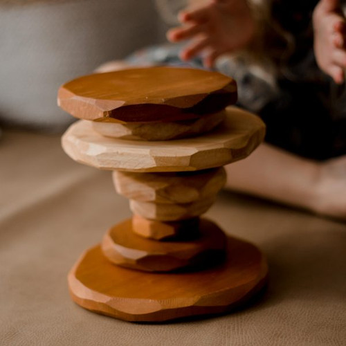 Two Tone Wooden Stacking Stones