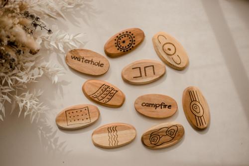 Aboriginal Symbol wooden stones