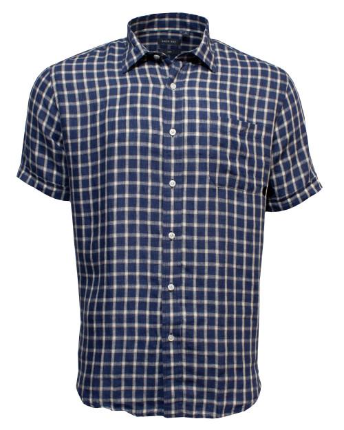 Linen Checked Shirt Indigo