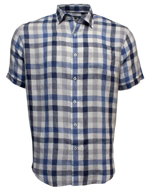 Linen Checked Shirt Steel
