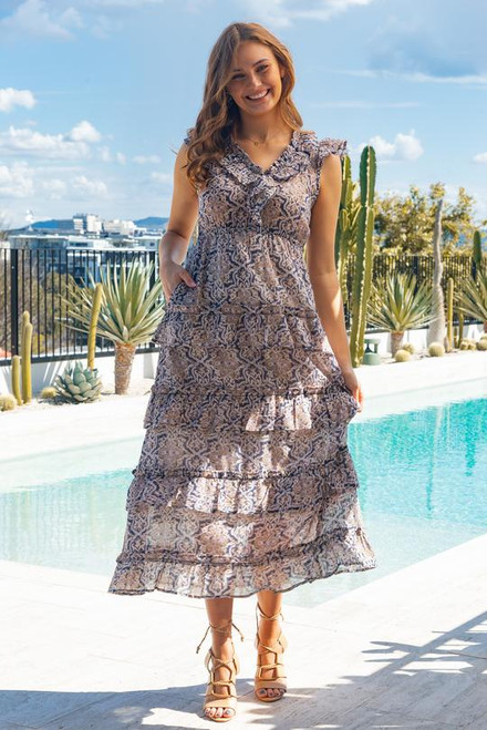 Claudette Frill Dress in Starry Nights