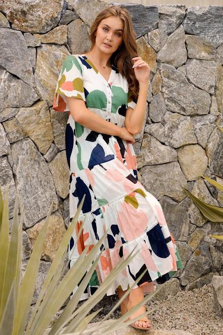 Niah Maxi Dress in Abstract Garden