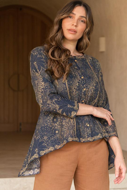 Nadia Pintuck Blouse in Fireworks