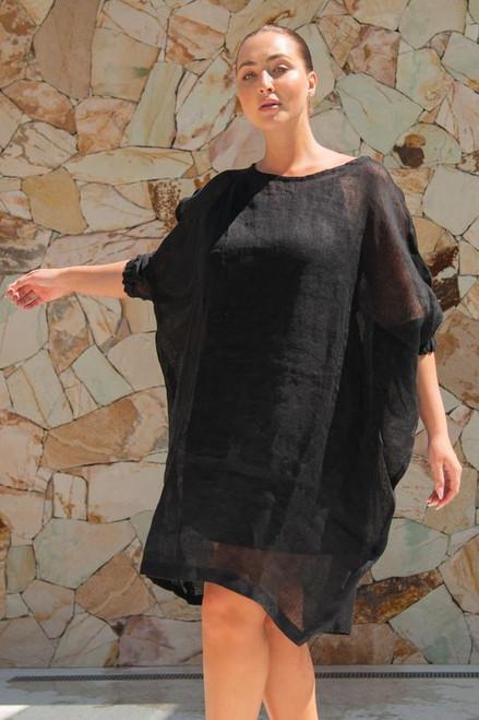 Cherie Linen Dress - Black