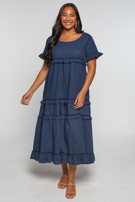 Sabre Frill Dress in Navy