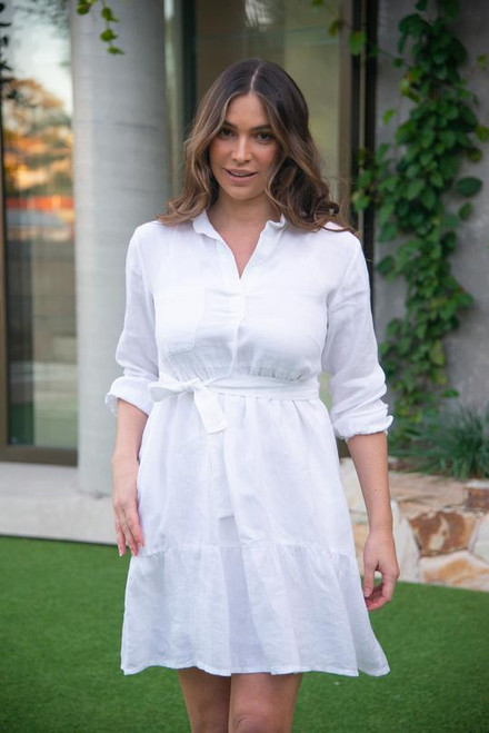 Ginette Collared Dress in white