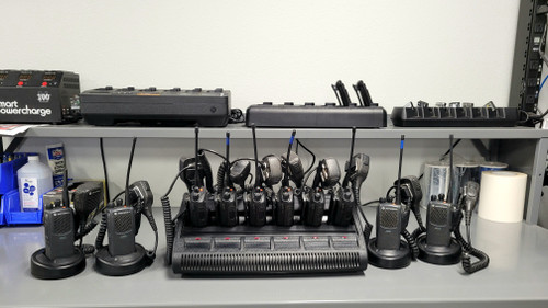 Ten Two-Way Radios, One 6 Bay Multicharger, Four Single Chargers