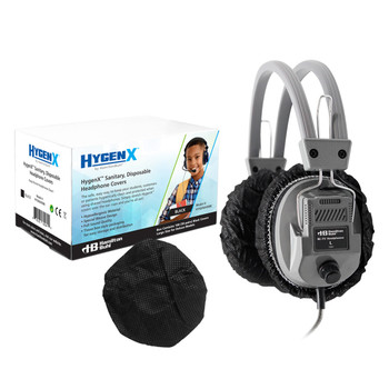"HygenX™ Sanitary, Disposable 4.5"" Deluxe-Sized Ear Cushion Covers for Headphones and Headsets,  50 Pairs – BLACK"