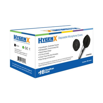 HygenX™ Sanitary Disposable Microphone Covers – Master Carton of 12 boxes of 100 Each – BLACK