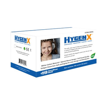"HygenX NatureWeave 100% Biodegradable Sanitary Ear Cushion Covers (4.5"" White, Master Carton/600 Pairs) - For Over-Ear Headphones & Headsets"