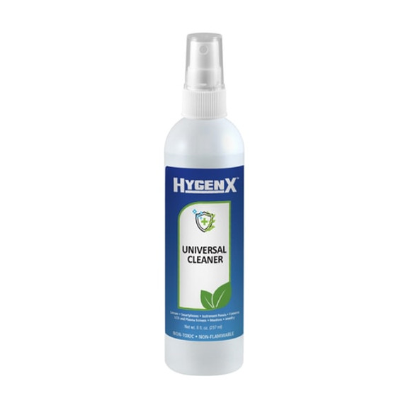 HygenX Universal Cleaner is the ultimate cleaning solution, free of harsh chemicals and fumes, ideal for all your screens, instrument panels, glasses, jewelry and more!