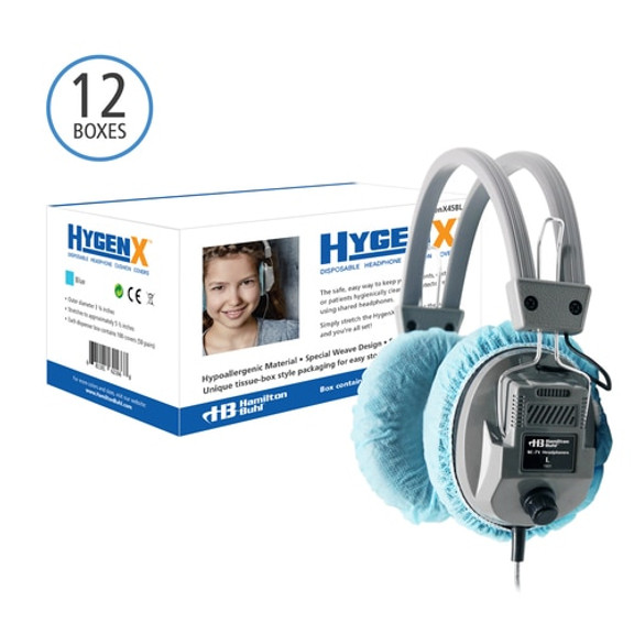 """HygenX Sanitary Ear Cushion Covers (4.5"""" Blue, Master Carton - 600 Pairs) - For Over-Ear Headphones and Headsets"""