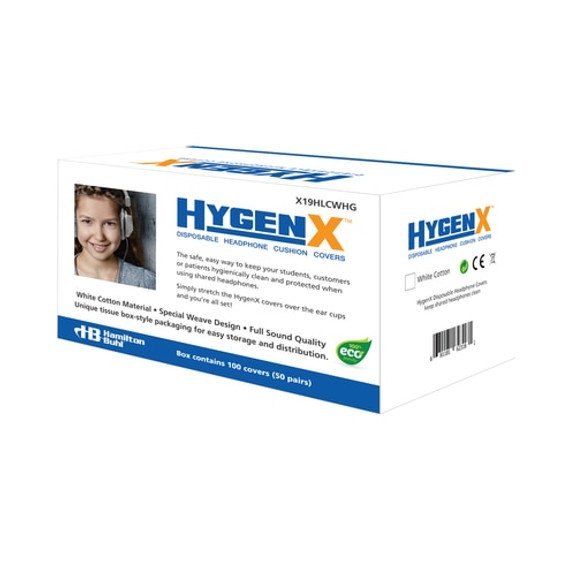 """HygenX NatureWeave 100% Biodegradable Sanitary Ear Cushion Covers (4.5"""" White, 50 Pairs) - For Over-Ear Headphones & Headsets"""
