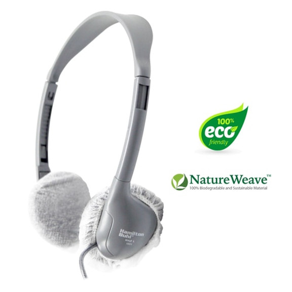 "HygenX NatureWeave 100% Biodegradable Disposable Ear Cushion Covers (2.5"" White, 50 Pairs) - For On-Ear Headphones & Headsets"