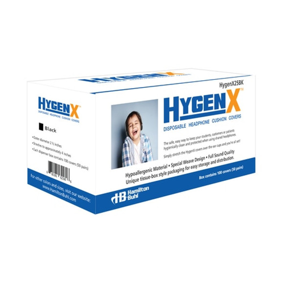 """HygenX™ Sanitary, Disposable 2.5"""" Personal-Sized Ear Cushion Covers for Headphones and Headsets – 50 Pairs – BLACK"""