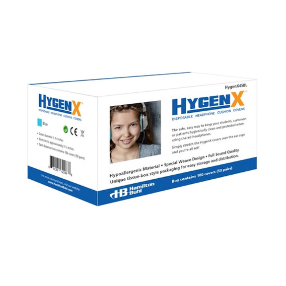 """HygenX™ Sanitary, Disposable, 4.5"""" Deluxe-Sized Ear Cushion Covers – 50 Pairs – BLUE"""