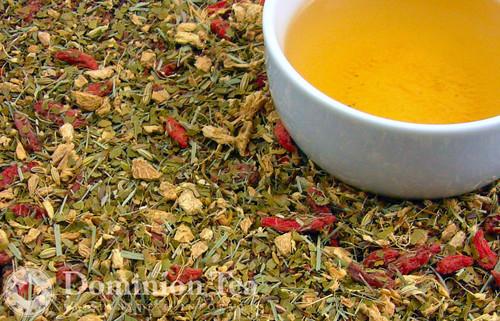 Ginger Honeybush Tea Dry Leaf and Liquor