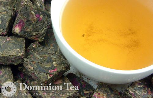 Victorian Rose Tea Pressed Leaf and Liquor