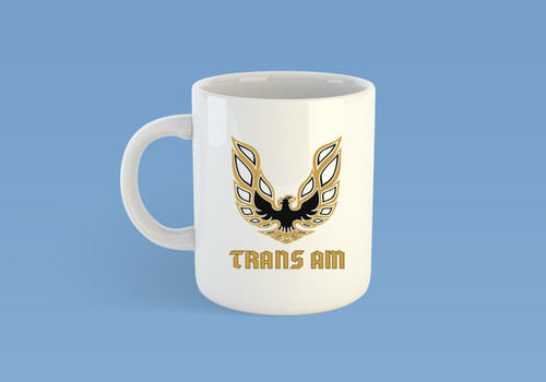Coffee Mug Cup with the Vintage Pontiac Trans Am Firebird Logo