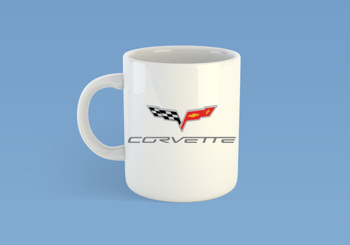 Coffee Mug Cup with the Modern Chevrolet Chevy Corvette Logo