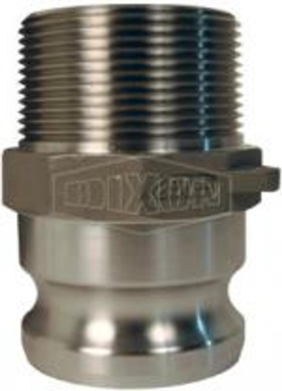 "A 4"" male adapter-male thread Cam Lock manufactured using aluminum."