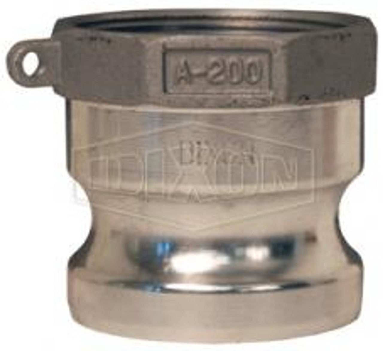 """A 4"""" male adapter-female thread Cam Lock manufactured using stainless steel."""