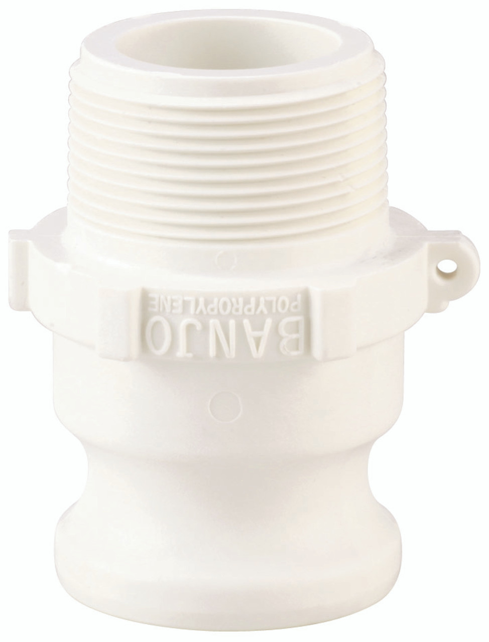 """A 2"""" male adapter-male thread Cam Lock manufactured using polypropylene."""