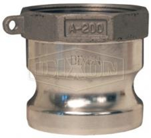 "A 4"" male adapter-female thread Cam Lock manufactured using aluminum."