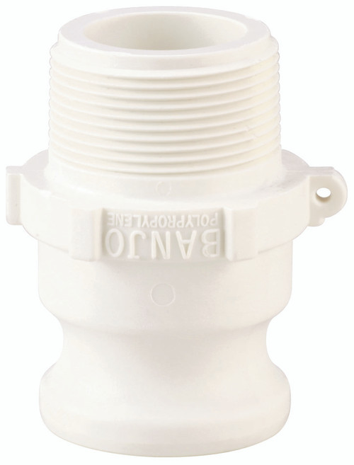 "A 1.5"" male adapter-male thread Cam Lock manufactured using polypropylene."