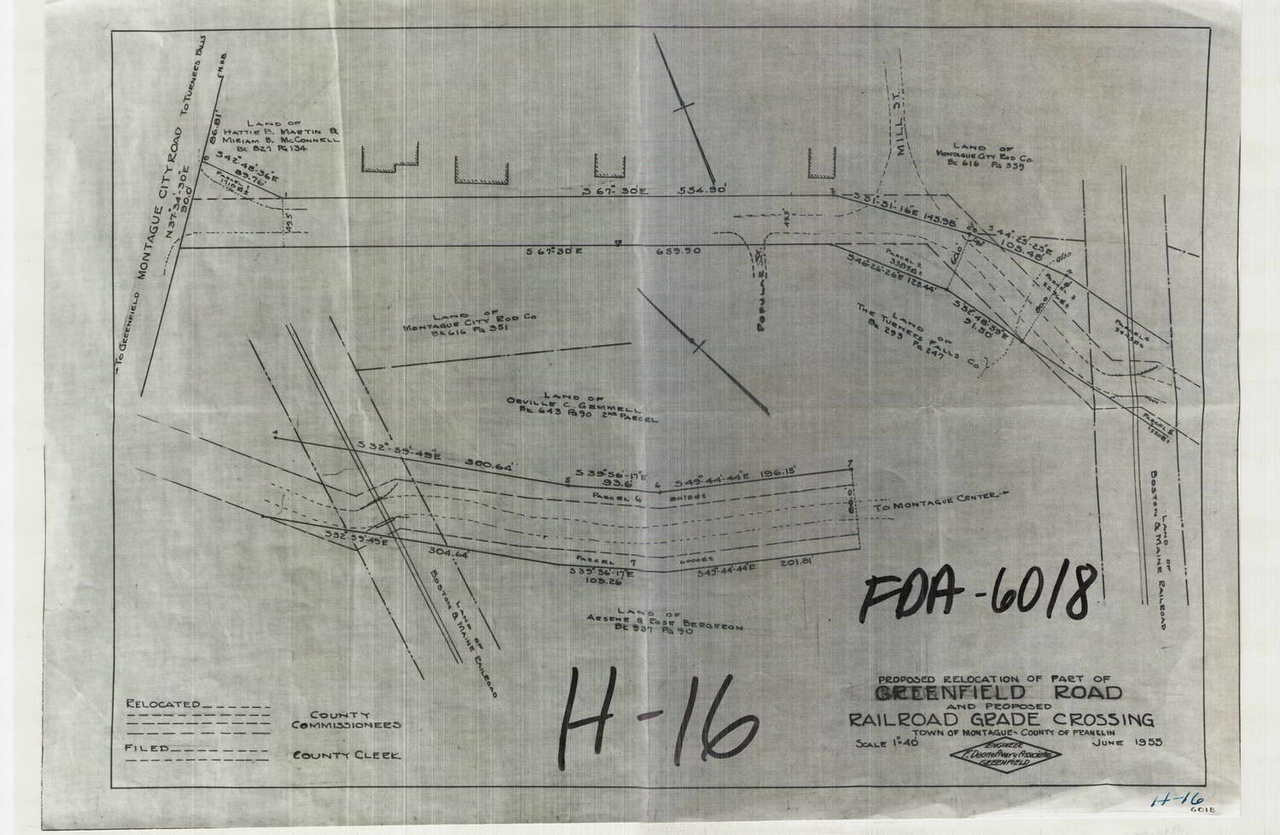 Proposed Relocation of Part of Greenfield Road and Proposed Railroad Grade  Crossing Montague H-016 - Map (Digital Download Copy)