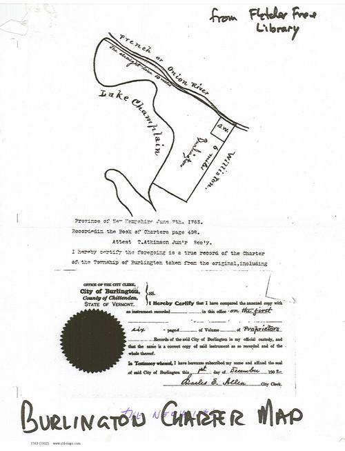 Burlington 1763 Charter - Old Map Reprint - Vermont Towns Other (Rsch)