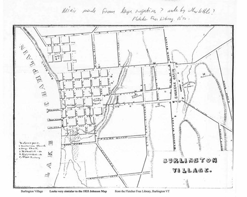 Burlington 1833x Village Plan - Old Map Reprint - Vermont Towns Other (Rsch)