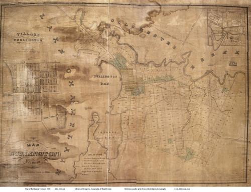 Burlington 1836 Johnson - Old Map Reprint - Vermont Towns Other (Rsch)