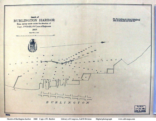 Burlington 1868 Harbor - Old Map Reprint - Vermont Towns Other (Rsch)