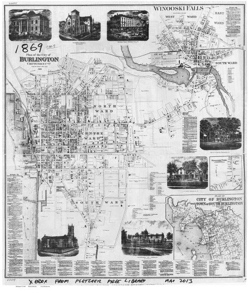 Burlington 1869 Worley - Old Map Reprint - Vermont Towns Other (Rsch)