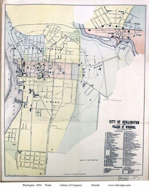 Burlington 1894 Waite - Old Map Reprint - Vermont Towns Other (Rsch)