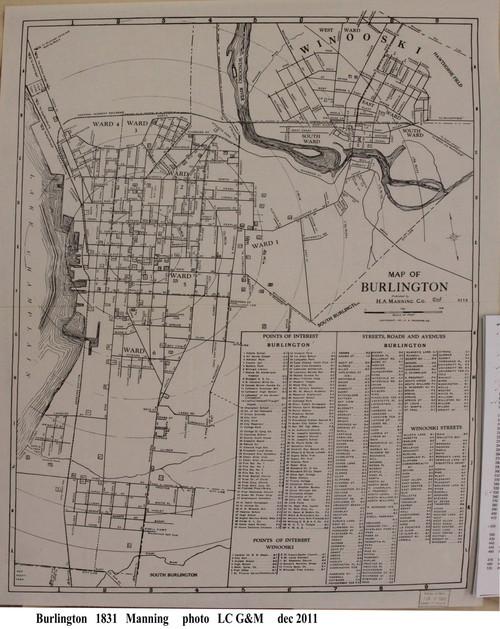Burlington 1931 Manning - Old Map Reprint - Vermont Towns Other (Rsch)