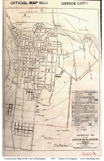 Burlington 1934 Construction - Old Map Reprint - Vermont Towns Other (Rsch)