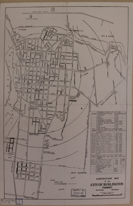 Burlington 1939 Stanley - Old Map Reprint - Vermont Towns Other (Rsch)
