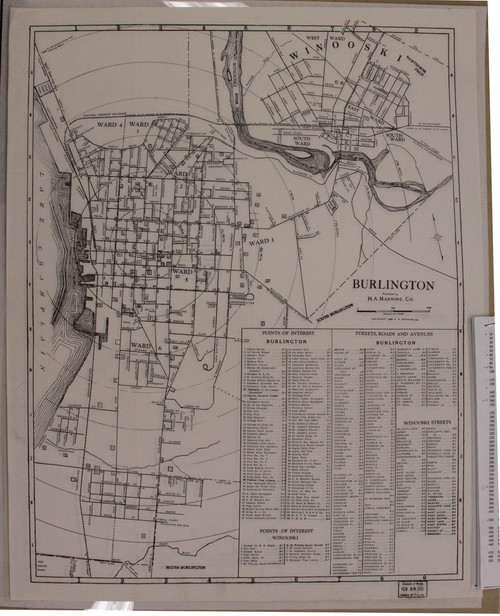 Burlington 1940 Manning - Old Map Reprint - Vermont Towns Other (Rsch)