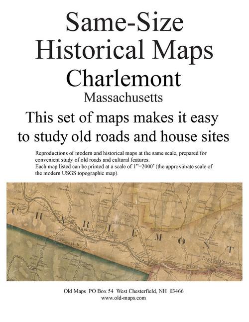 Set of 14 same size Historical Maps - Charlemont MA Old Map
